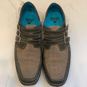 John Fluevog Brown Suede Patterned Shoes Size 12